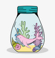 whale unicorn with seaweed plants and shells vector image vector image
