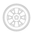 wheel with tyre outline icon vector image vector image