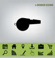 whistle sign black icon at gray vector image vector image