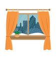 window overlooking the snow in the night city vector image vector image