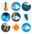 Weather flat icons set vector image