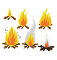 set of cartoon bonfires on white background vector image