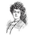 a portrait a woman face vintage engraving vector image vector image