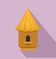 bee tree house icon flat style vector image vector image