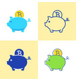 bitcoin saving concept icon set in flat and line vector image vector image