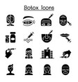 botox anti aging icon set in flat style vector image