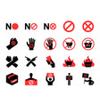 boycott icon set vector image