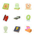 burial service icons set cartoon style vector image vector image