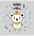 christmas card with cute little koala funny vector image vector image