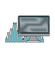 computer business statistics bar chart report vector image vector image