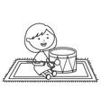 cute little girl playing with drum vector image