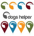dogs helper design template pins and web icons set vector image vector image