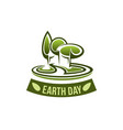 earth day icon for green nature environment vector image vector image