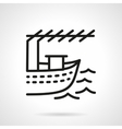 Fishing boat black line design icon vector image vector image