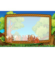 Frame template with squirrels in park vector image vector image