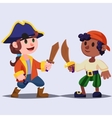 Funny cute cartoon Boys pirates kids with wooden vector image vector image