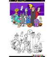 halloween with spooky characters color book vector image vector image