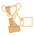 hand human with trophy cup isolated icon vector image