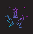 hand trophy reward icon design vector image