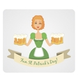 Happy St Patricks day card with girl and beer vector image