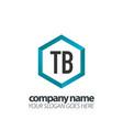 initial letter tb hexagon box creative logo black vector image vector image