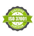 iso 37001 standard certificate badge vector image vector image