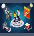 isometric cinematography composition vector image vector image