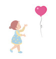 little girl cartoon character on white background vector image