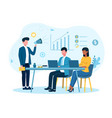 male businessman is motivating employees in office vector image