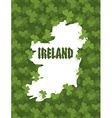 Map of Ireland Gothic font and clover Country vector image vector image