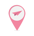 Map pointer with origami paper plane icon Pink mar vector image vector image