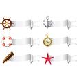marine tools white ribbons vector image