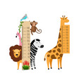 measure growth kids with animals vector image