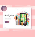navigator website landing page design vector image