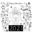 new year set cute doodles holiday items - a vector image vector image