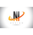 ni n i letter logo with fire flames design and vector image
