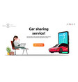online carsharing car on screen smartphone vector image vector image