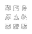 online fitness classes linear icons set vector image vector image