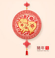 pig paper cut as 2019 chinese new year zodiac sign vector image vector image