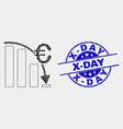 pixel euro crisis chart icon and distress x vector image vector image