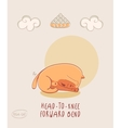 Red Yoga Cat in Head To Knee Forward Bend vector image vector image