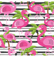 seamless pattern with flamingo and tree palm vector image vector image