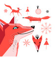 set graphics a red fox vector image vector image