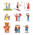 set of people making selfies young men and women vector image