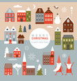 set winter christmas houses and design elements vector image