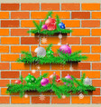 shelves christmas tree red brick vector image vector image