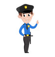 smiling boy in policeman uniform vector image vector image