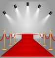 spotlights and stage podium with red carpet vector image