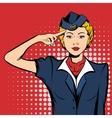 Stewardess comics woman vector image vector image
