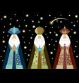 three wise men christmas three biblical kings vector image